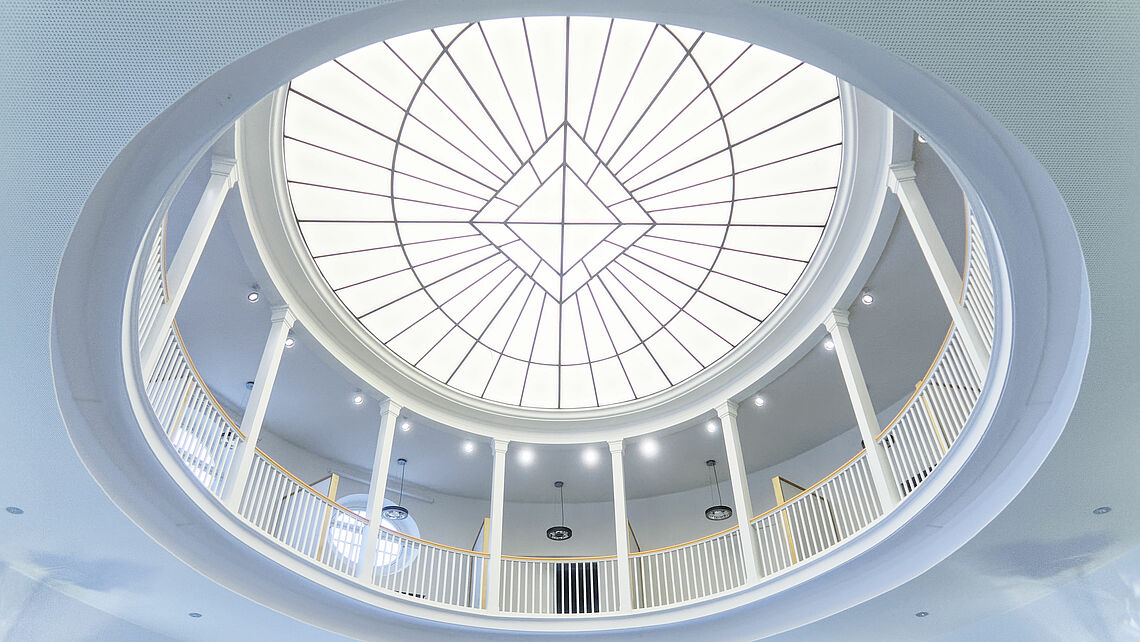 Looking up at the glass cupola from the main level of the Moot Court